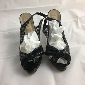 Valentino - black net - 5in heel w bow- sz 40